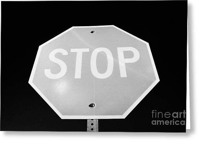 Hexagons Greeting Cards - Stop Sign Against Blue Sky In North Dakota Usa United States Of America Greeting Card by Joe Fox