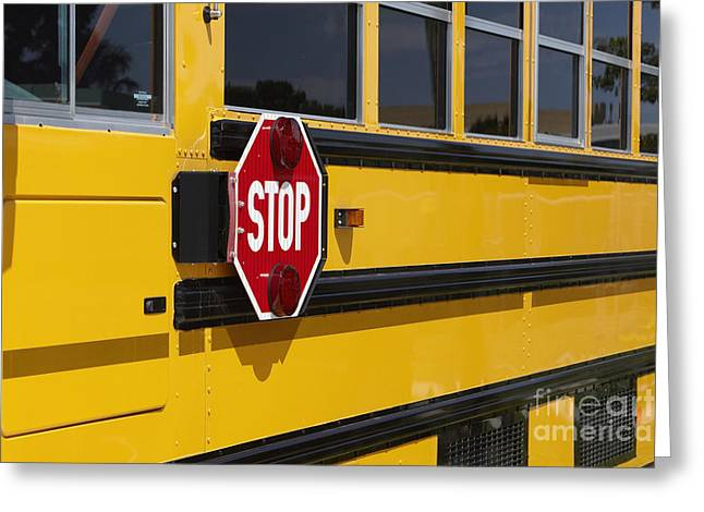 Bus Signs Greeting Cards - Stop Sign on a School Bus Greeting Card by Skip Nall