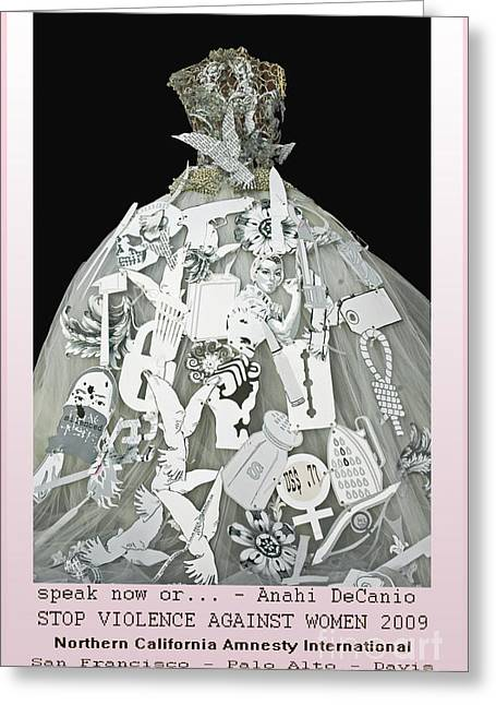 Anahi Decanio Mixed Media Greeting Cards - Stop Violence Against Women Campaign Greeting Card by Anahi DeCanio