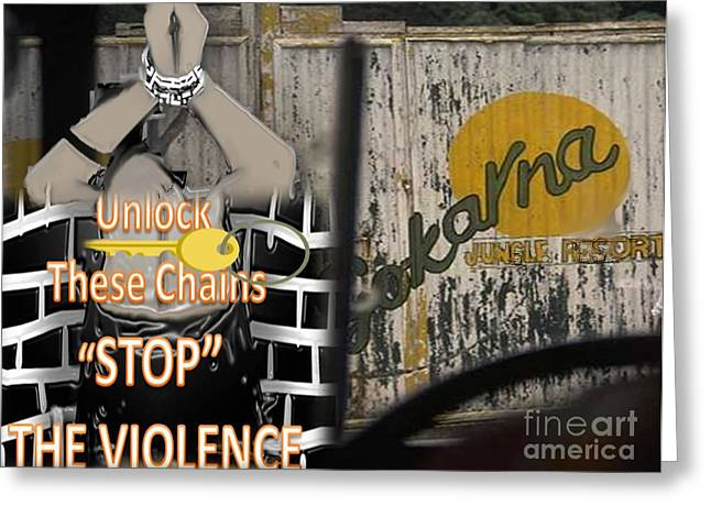 Ghetto Drawings Greeting Cards - Stop Violence Greeting Card by Belinda Threeths