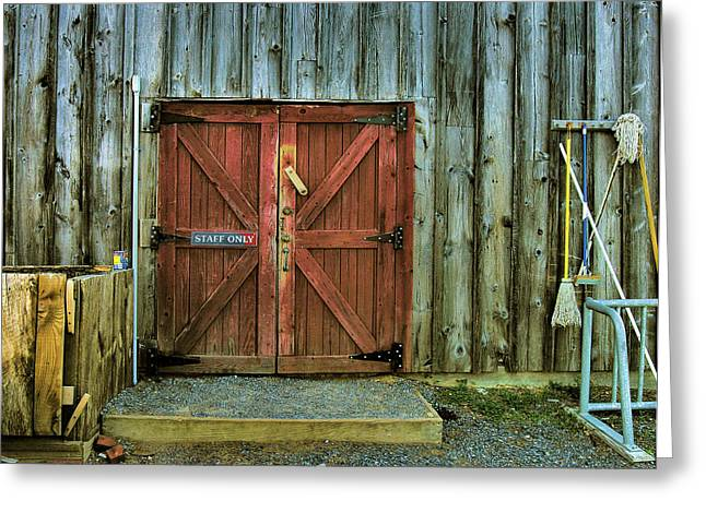 Framed Old Door Print Greeting Cards - Storage Shed Greeting Card by Steven Ainsworth
