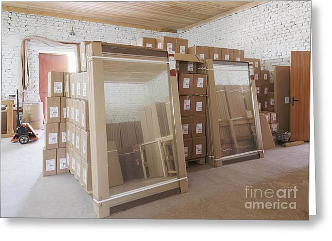 Cardboard Greeting Cards - Stored Boxes and Mirrors Greeting Card by Magomed Magomedagaev