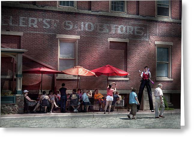 Storefront - Bastile Day in Frenchtown Greeting Card by Mike Savad