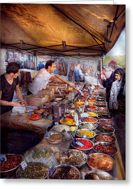 Sampling Greeting Cards - Storefront - The open air Tea and Spice market  Greeting Card by Mike Savad