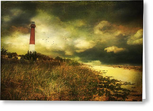 Storm At Barnegat Lighthouse Greeting Card by John Rivera