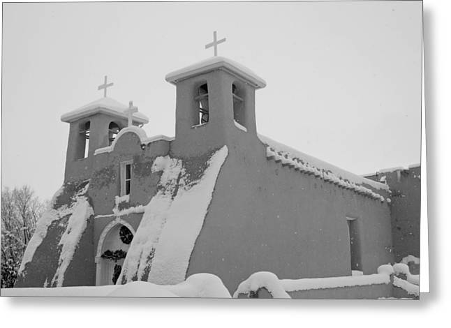 Taos Greeting Cards - Storm at San Francisco de Asis Church Greeting Card by Troy Montemayor