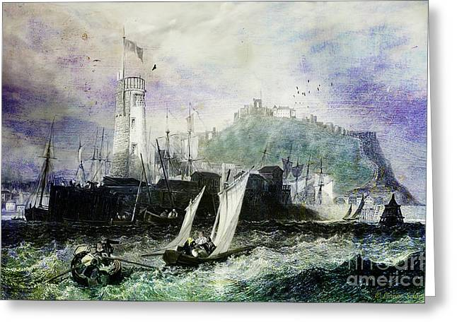 Historic Ship Greeting Cards - Storm at Scarborough Greeting Card by Lianne Schneider