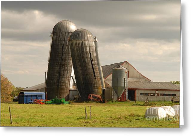 Maine Farms Greeting Cards - Storm at the farm Greeting Card by Alana Ranney