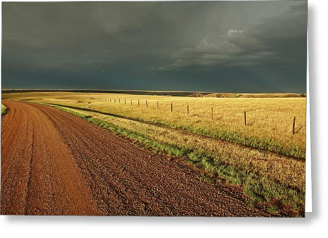 Summer Scene Greeting Cards - Storm clouds along a Saskatchewan country road Greeting Card by Mark Duffy