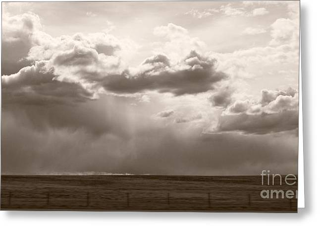 Field. Cloud Greeting Cards - Storm Clouds and Fence at 110 Greeting Card by Royce Howland