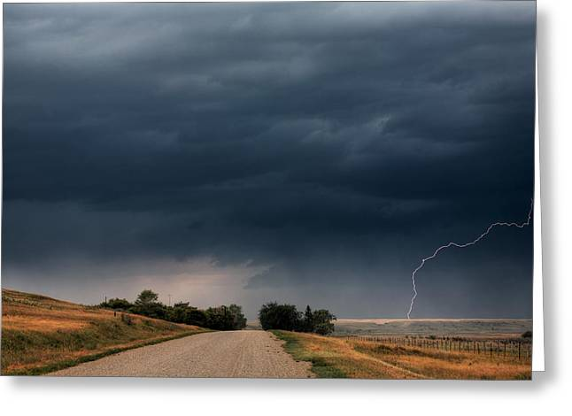 Images Lightning Digital Art Greeting Cards - Storm clouds and lightning along a Saskatchewan country road Greeting Card by Mark Duffy