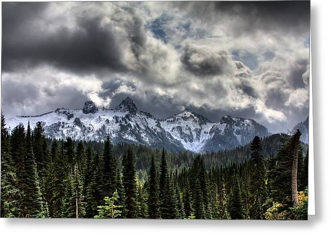 Overcast Day Greeting Cards - Storm Clouds, Mount Rainier, Pierce Greeting Card by Robert Bartow