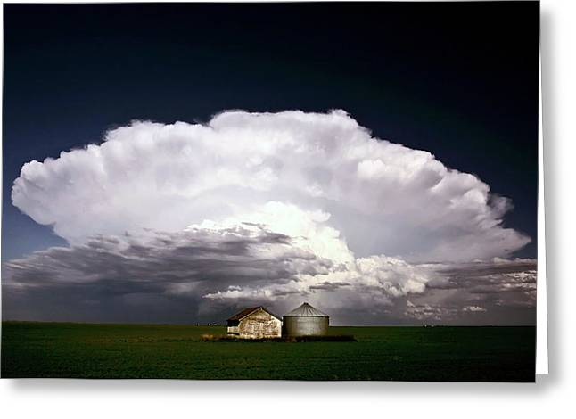 Colorful Cloud Formations Greeting Cards - Storm clouds over Saskatchewan granaries Greeting Card by Mark Duffy