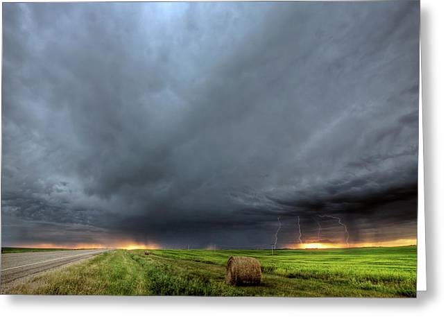 Summer Scene Greeting Cards - Storm clouds over Saskatchewan Greeting Card by Mark Duffy