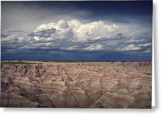 Oglala Greeting Cards - Storm Clouds over the Badlands National Park Greeting Card by Randall Nyhof
