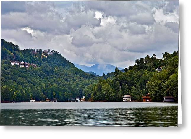 Susan Leggett Greeting Cards - Storm Clouds Over the Lake Greeting Card by Susan Leggett