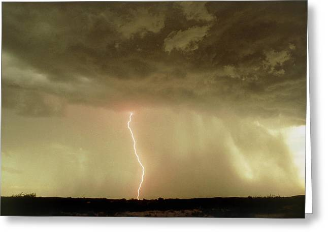 Arizona Lightning Greeting Cards - Storm Clouds Over Tucson Greeting Card by Keith Kent