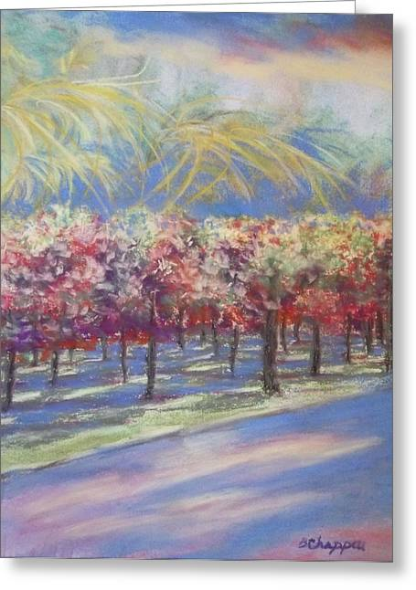 Vineyard Landscape Mixed Media Greeting Cards - Storm Coming Greeting Card by Becky Chappell