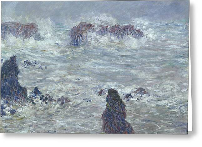 Breton Greeting Cards - Storm off the Coast of Belle Ile Greeting Card by Claude Monet