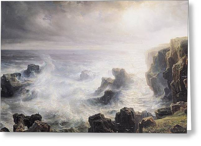 Belles Greeting Cards - Storm off the Coast of Belle Ile Greeting Card by Jean Antoine Theodore Gudin
