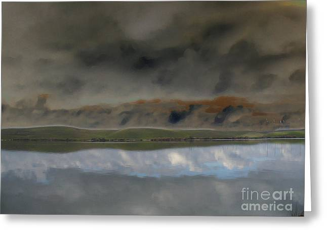 Reflections In River Digital Art Greeting Cards - Storm on Land Greeting Card by Afroditi Katsikis
