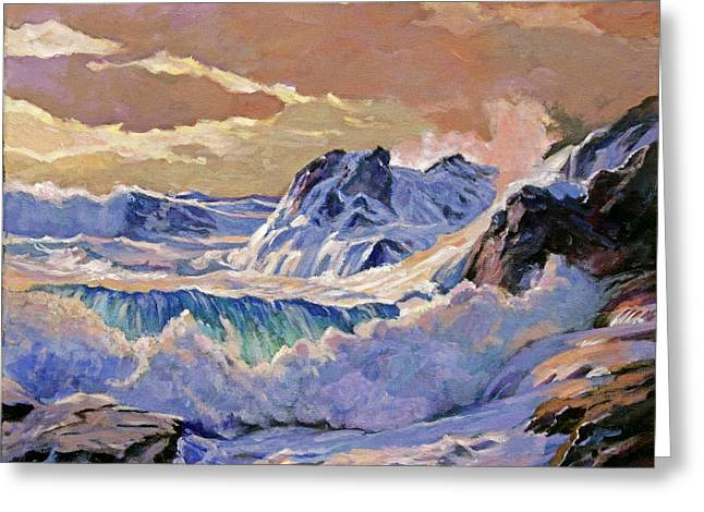 Most Paintings Greeting Cards - Storm on Pacific Coast Greeting Card by David Lloyd Glover