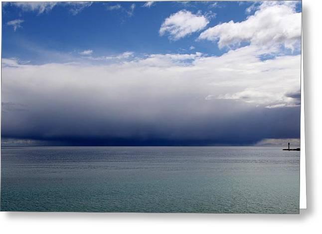 Storm On The Horizon Greeting Card by Davandra Cribbie
