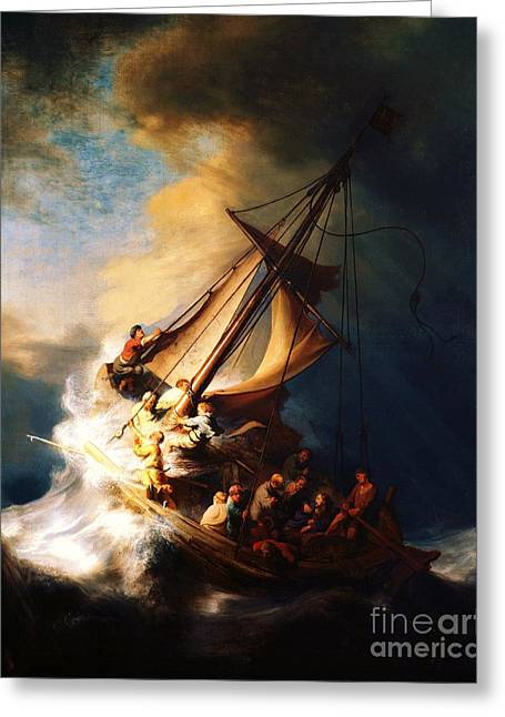 Storm Prints Paintings Greeting Cards - Storm On The Sea Of Galilee Greeting Card by Pg Reproductions