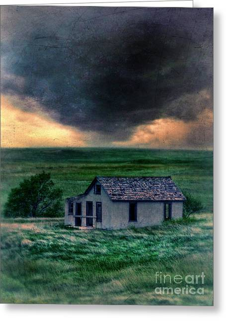Clapboard House Greeting Cards - Storm over Abandoned House Greeting Card by Jill Battaglia