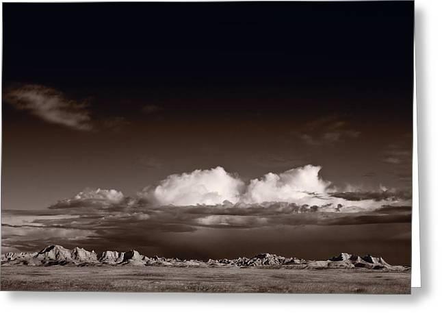 Warm Tones Greeting Cards - Storm Over Badlands Greeting Card by Steve Gadomski