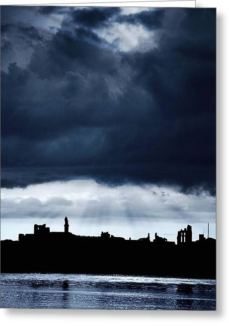 Sheild Greeting Cards - Storm Over City, Tyne And Wear, England Greeting Card by John Short