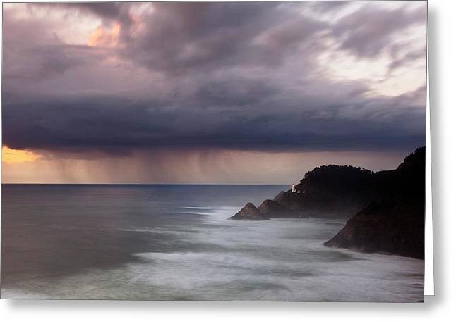 Turbulent Skies Photographs Greeting Cards - Storm over Heceta Head  Greeting Card by Keith Kapple