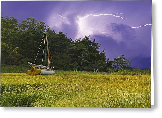 Storm Clouds Cape Cod Greeting Cards - Storm Over Knotts Island Greeting Card by Charles Harden