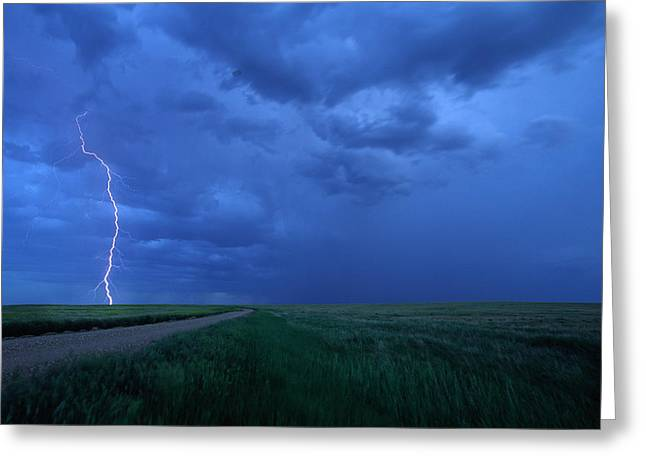Images Lightning Greeting Cards - Storm Over Prairies, Grasslands Greeting Card by Robert Postma