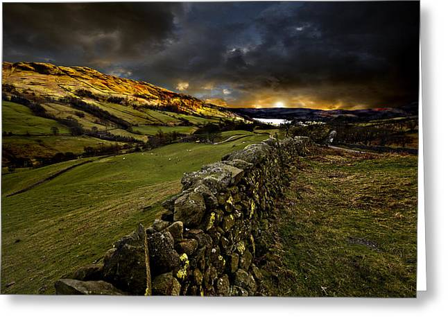 Dry Stone Wall. Greeting Cards - Storm Over Windermere Greeting Card by Meirion Matthias