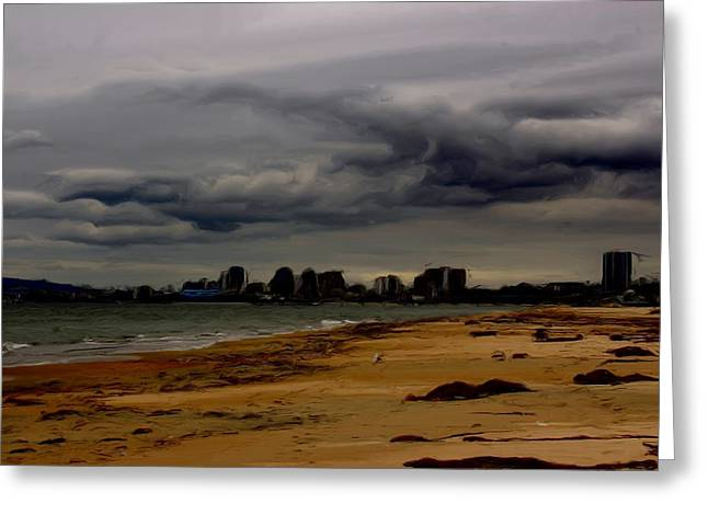 Storm Clouds Digital Art Greeting Cards - Storm Rolls In Greeting Card by Heidi Smith