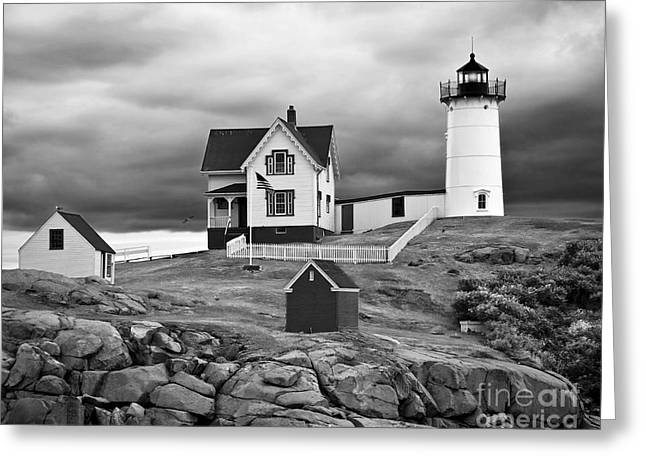 Maine Shore Greeting Cards - Storm Warning Greeting Card by Jim Chamberlain