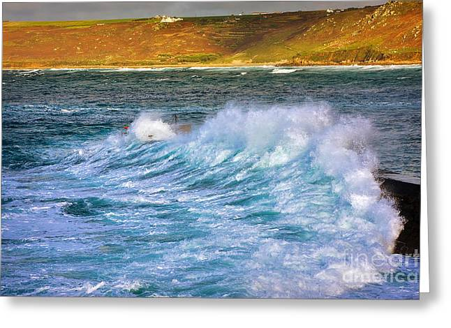 Sennen Cove Greeting Cards - Storm wave Greeting Card by Louise Heusinkveld