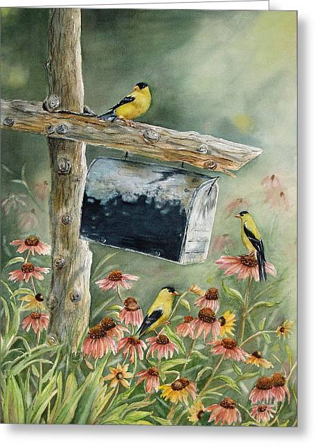Old Fence Post Greeting Cards - Stormbirds Greeting Card by Patricia Pushaw