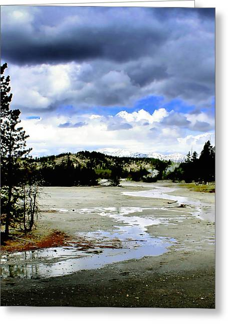 Yellowstone Digital Art Greeting Cards - Stormclouds over Norris Basin Greeting Card by Ellen Heaverlo