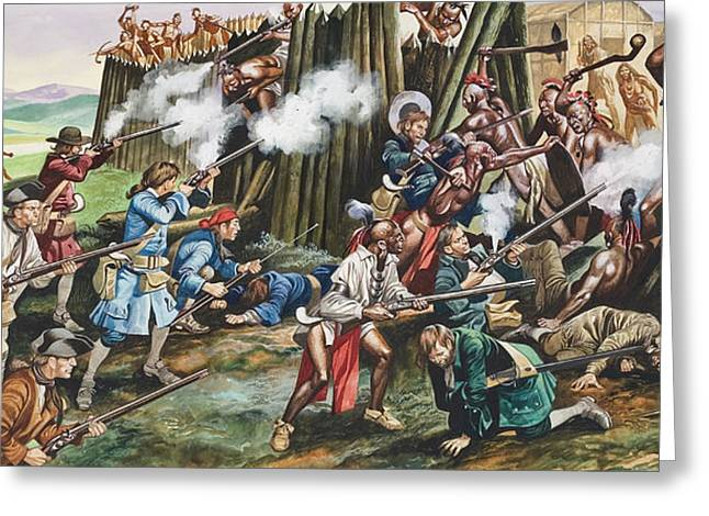 Carolina Paintings Greeting Cards - Storming of the Fortress of Neoheroka Greeting Card by Ron Embleton