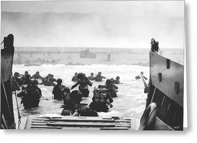 World War 2 Greeting Cards - Storming The Beach On D-Day  Greeting Card by War Is Hell Store