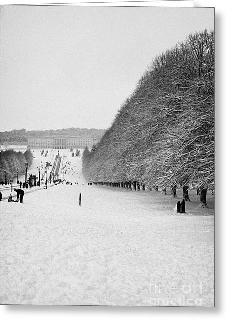 Wintry Greeting Cards - stormont parliament buildings and stormont estate on a cold snowy winters day Belfast  Greeting Card by Joe Fox