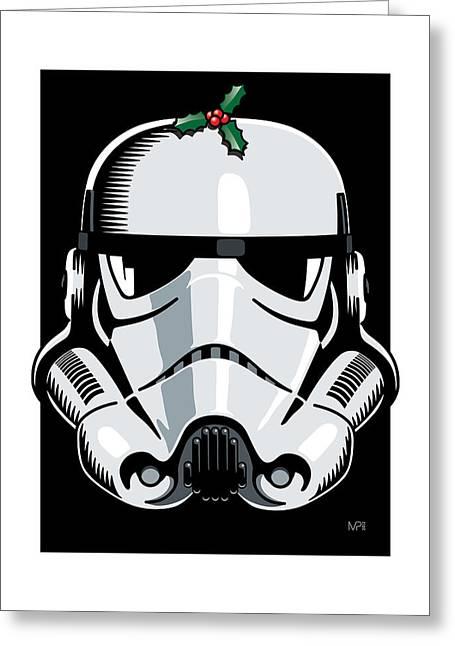 Grunts Digital Greeting Cards - Stormtrooper Seasons Greetings Greeting Card by IKONOGRAPHI Art and Design