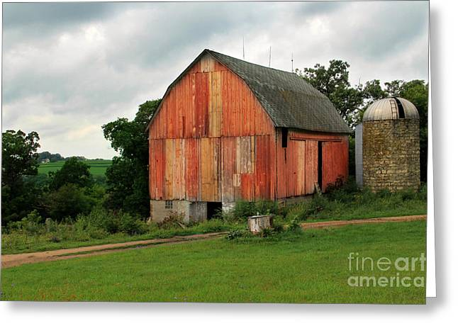 Red Roofed Barn Greeting Cards - Stormy Barn 2 Greeting Card by Perry Webster