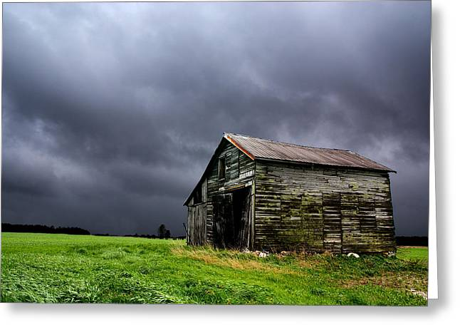 Shed Photographs Greeting Cards - Stormy Barn Greeting Card by Cale Best