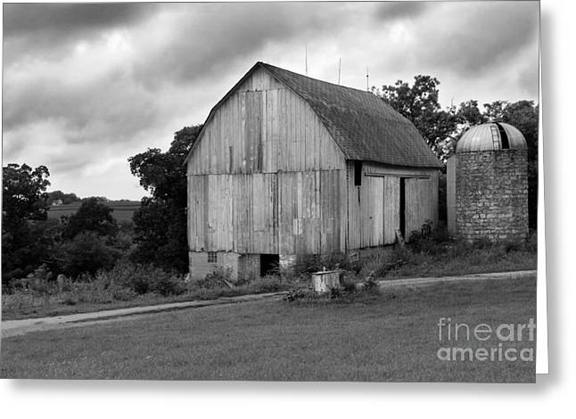 Shed Photographs Greeting Cards - Stormy Barn Greeting Card by Perry Webster
