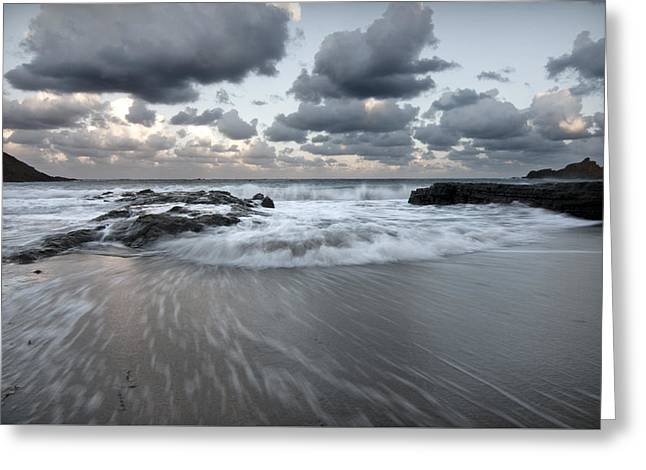 Summer Storm Greeting Cards - stormy beach 1 - Cala Mesquida north coast of menorca after storm a cloudy and bluish landscape Greeting Card by Pedro Cardona