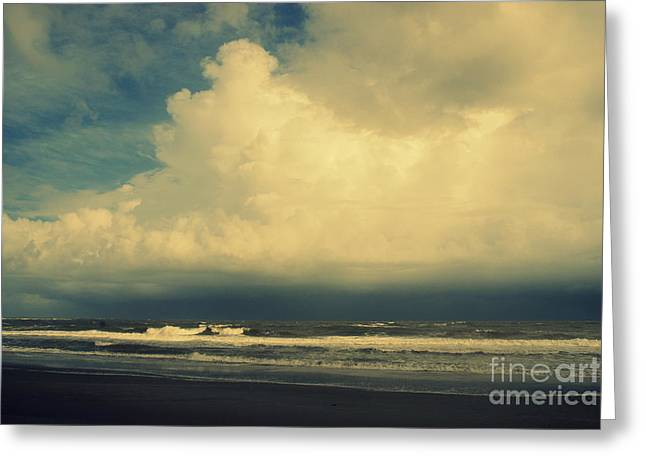Charleston Greeting Cards - Stormy Clouds at Folly Beach SC Greeting Card by Susanne Van Hulst