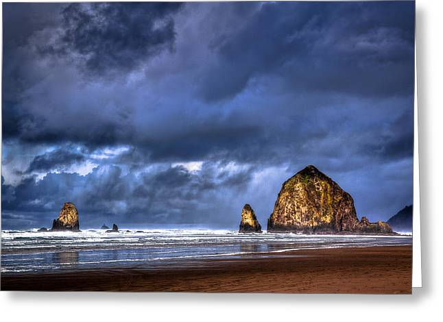 Leaden Sky Greeting Cards - Stormy Clouds in Cannon Beach Greeting Card by Niels Nielsen